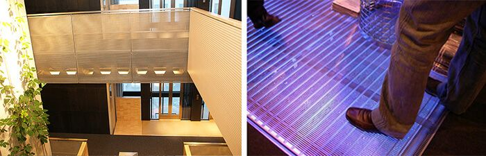 grilles en fils d'acier inoxydable de section triangulaires, design en fils métalliques de section triangulaires, grilles de panneaux